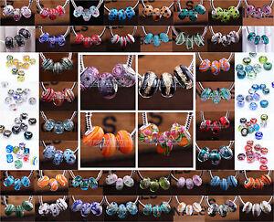 10pcs-15x9mm-Murano-Lampwork-Glass-Fit-European-Bracelet-Loose-Big-Hole-Beads