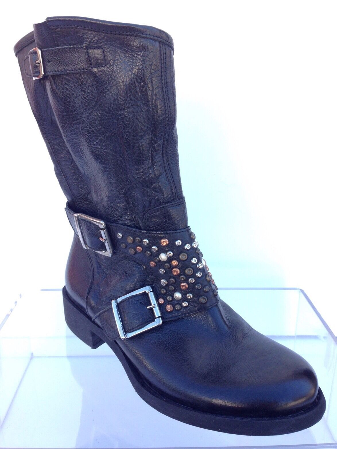 Women's Giove Leather Studded Ankle Boots Brown Size