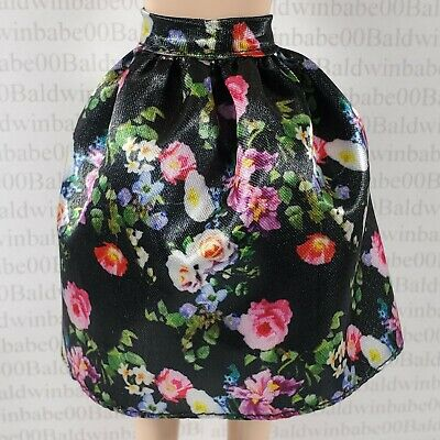 SKIRT ~ BARBIE DOLL MODEL MUSE SWEET TEA BLACK FLORAL PRINT BOTTOM ACCESSORY
