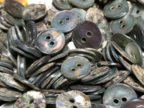 "13 VERY RARE Smoke Irridecent  REAL Pearl SHELL BUTTON  13//MM 1//2/"" 2HOLE"