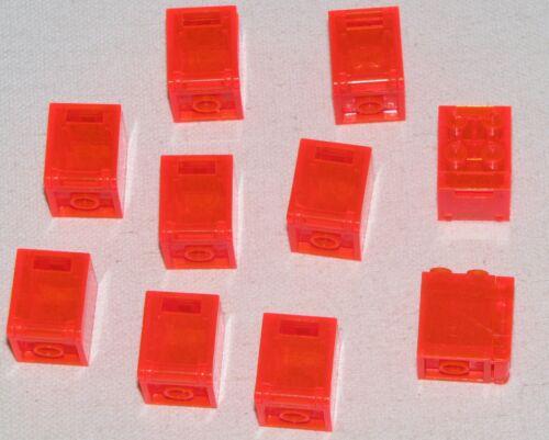 LEGO 10 TRANSPARENT ORANGE 2 X 2 X 2 BOX CONTAINERS PIECES