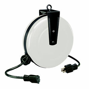 Image is loading 30-FT-Retractable-Steel-Extension-Cord-Reel-1-