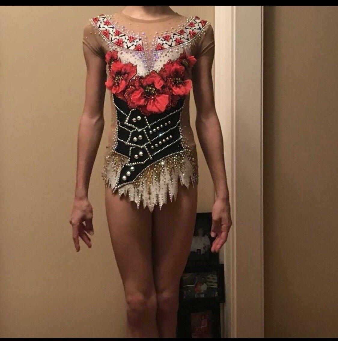 Rhythmic Gymnastics Girls Competition Leotard Sz 11-13 Years W  3D Flowers Used