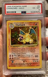 Charizard Holo 1999 Base Set  EX MT 6 PSA Pokemon #4 Chipped Holder