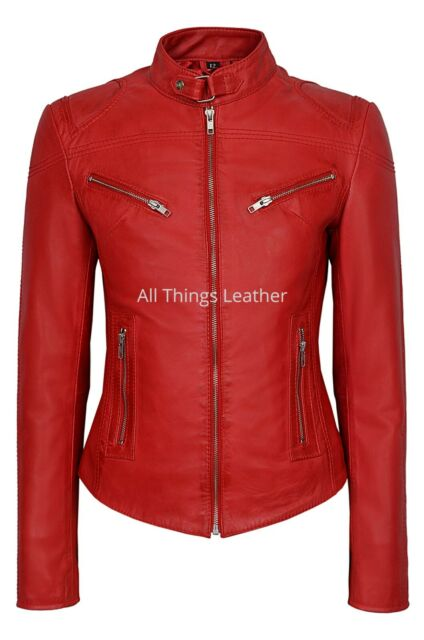 Ladies Red Motorcycle Leather Jacket SR-01 Biker Style Fitted Racer Jacket