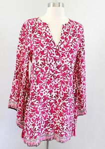 Soft Surroundings Avignon Floral Printed Flare Sleeve Tunic Top Blouse Pink XS