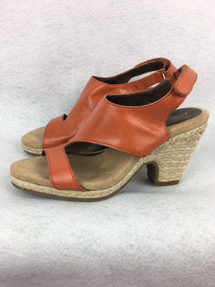 Aerosoles Women Sandals 6M Acoustic Espadrille Leather Open Toe Heel orange L194