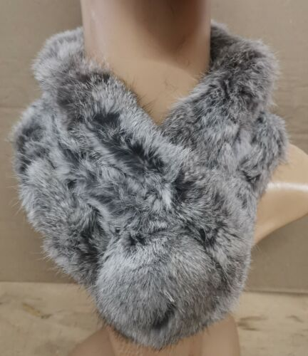 grey genuine real rabbit fur pom pom scarf neck warmer collar shawl stole