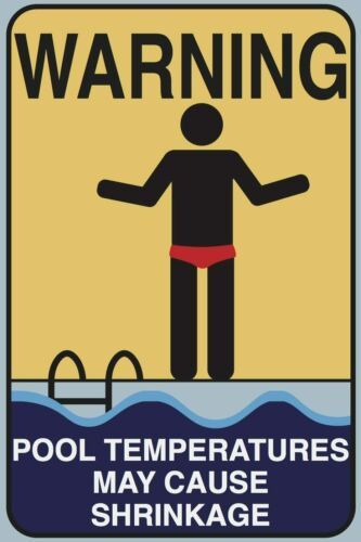 Pool Shrinkage Aluminum Funny Pool Sign Indoor Outdoor Shower Tin Sign Metal