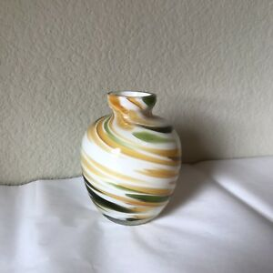 Details about Zodax Small Swirl Green Yellow Gl Vase on