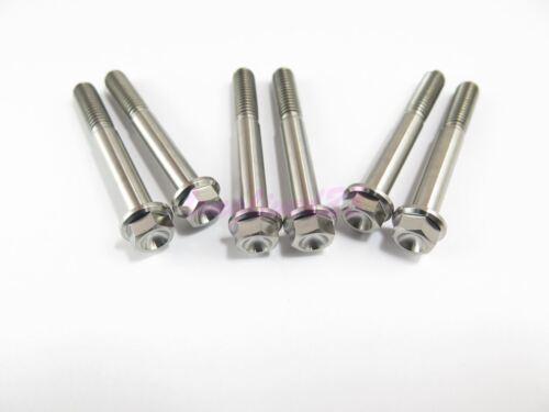 8mm Hex M6 x 45mm Titanium Ti Bolt Flange Head Screw Fastener GR5 2//6//10pcs