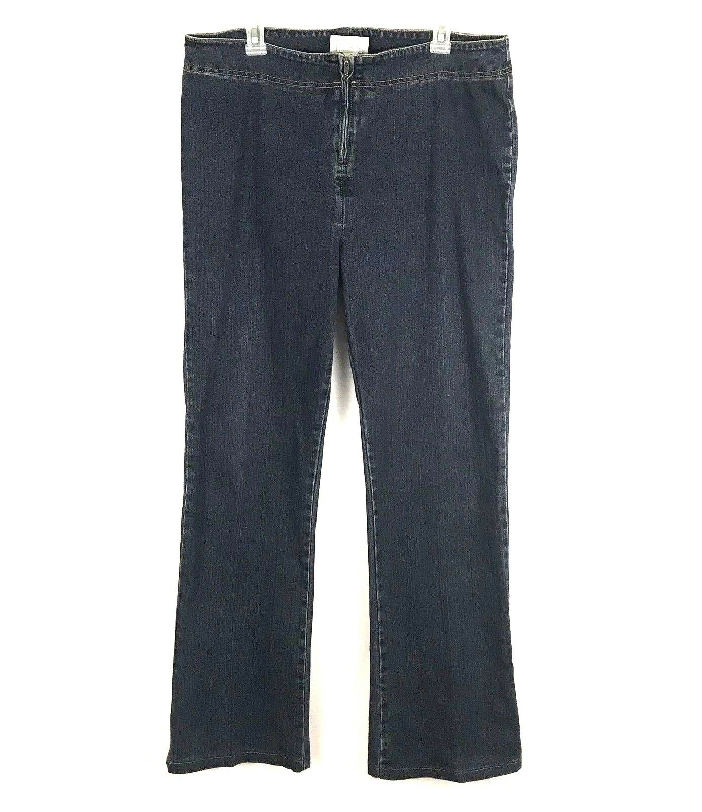 Soft Surroundings Womens Jeans Size Large Tall Dark Wash Zip Up Stretch Denim