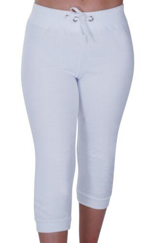 Womens Casual Plain 3//4 Length Gym Cropped Capri Joggers Trousers Ladies Pants
