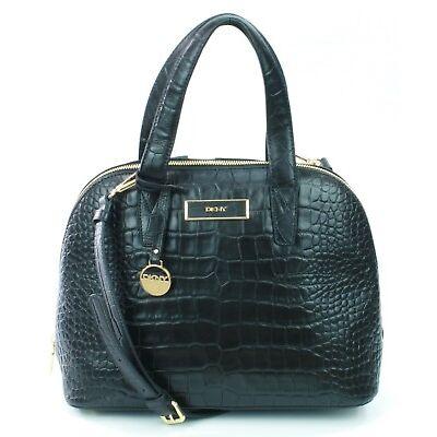 BNWT DKNY Donna Karen Black Leather Croc Embossed Shoulder Hand Bag RRP £300
