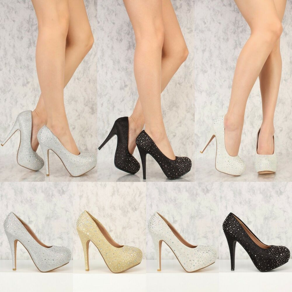 Prom Mariage Glitter Strass Close Toe Plateforme Stiletto High Heels Pump H59 Large SéLection;