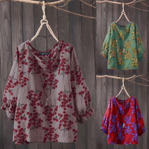 ZANZEA-Femme-Chemise-Floral-Manche-3-4-Col-Rond-Casuel-Loose-Shirt-Haut-Plus