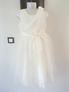Robe-de-ceremonie-mariage-fille-enfant-bebe-ado-blanc-strass-tulle-neuf-ladydjou