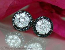 Schlichte Brillanten Ohrstecker mit schwarzen Diamanten, 0.75 ct. WG-585 2.060€