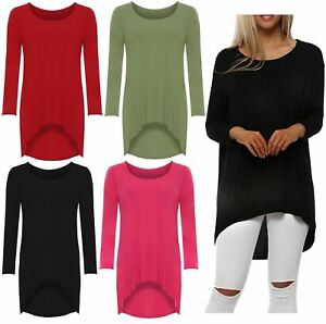 fd186a54262 New Womens Plus Size Plain Long Sleeve High Low Dip Hem Stretch T ...