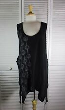 Comfort Organic Thermal Pinafore  Black w/ Art Nouveau XL by Blue Fish Red Moon