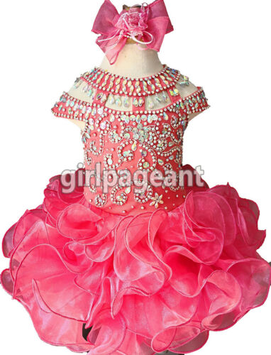 Infant//toddle Coral Stunning Crystals Short Sleeves Pageant Glitz Dress G225