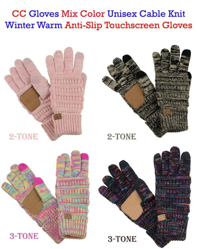 Cc Gloves Mix Color Unisex Cable Knit Winter Warm Anti-slip Touchscreen Gloves