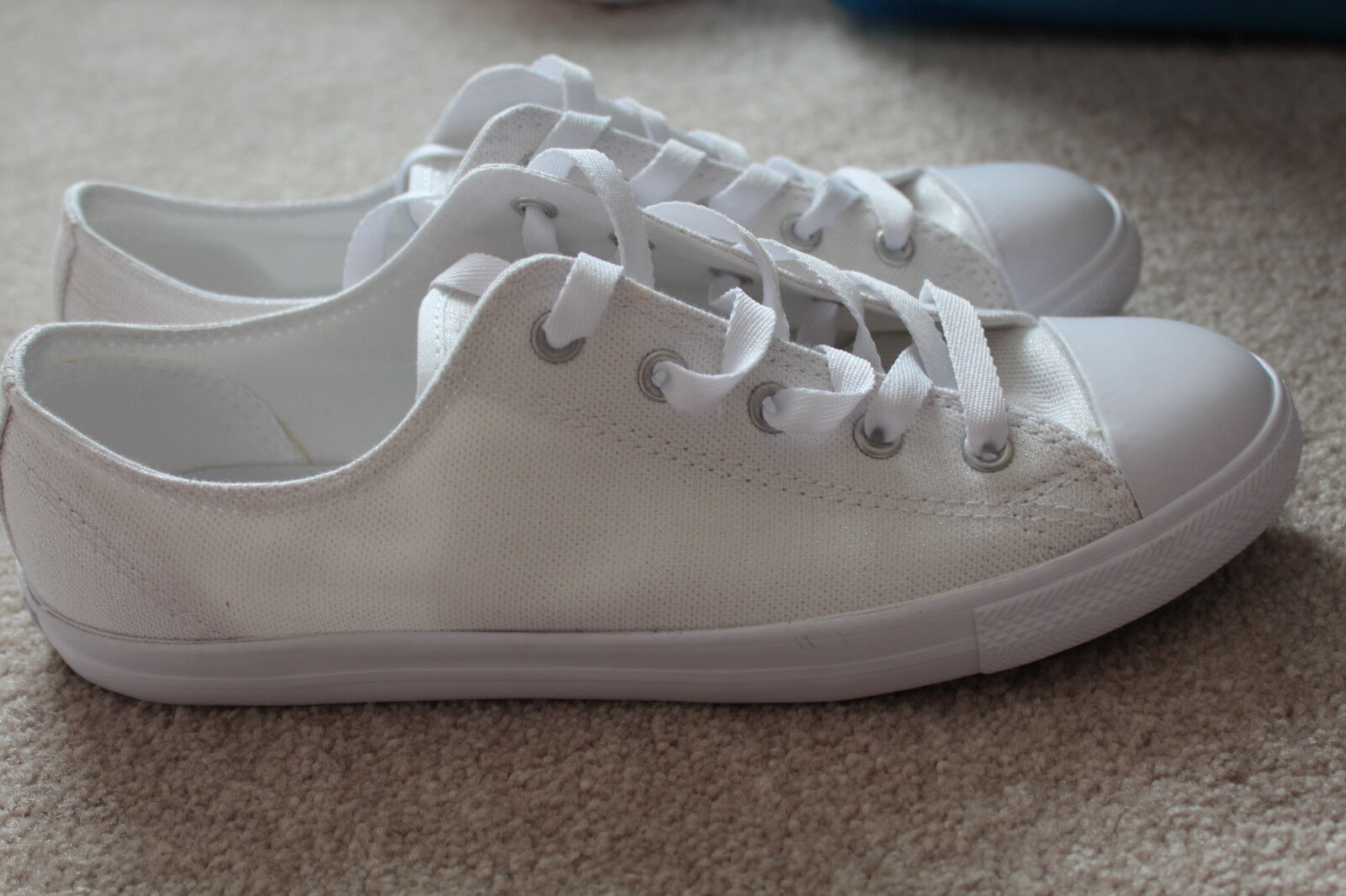 NEW CONVERSE SNEAKERS LOW-TOP Weiß 9 SHINY sz US 9 Weiß d4aa75