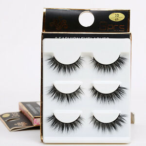 3-6-Pair-set-Bushy-Cross-False-3D-Natural-Eyelashes-Mink-Hair-Eye-Lashes-Black
