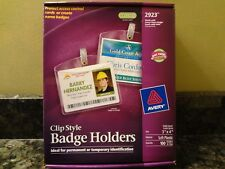 Brand New Avery 2923 Clip Style Badge Holders 3 X 4 Soft Plastic 100 Quantity