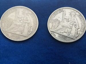COPPIA-INDOCHINE-FRANCAISE-PIASTRE-DE-COMMERCE-1900-GR-27-SILVER-0-900-SPL