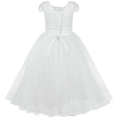FLOWER GIRLS BRIDESMAID FIRST COMMUNION DIAMANTE BODICE DRESS WHITE