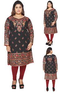 063c446836d PLUS SIZE - Women Indian Kurti Tunic Kurta Black Printed Top Dress ...
