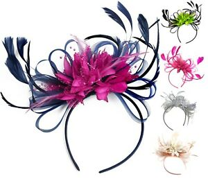 Navy Blue and Orange Feather Hair Fascinator Headband Wedding and Royal Ascot
