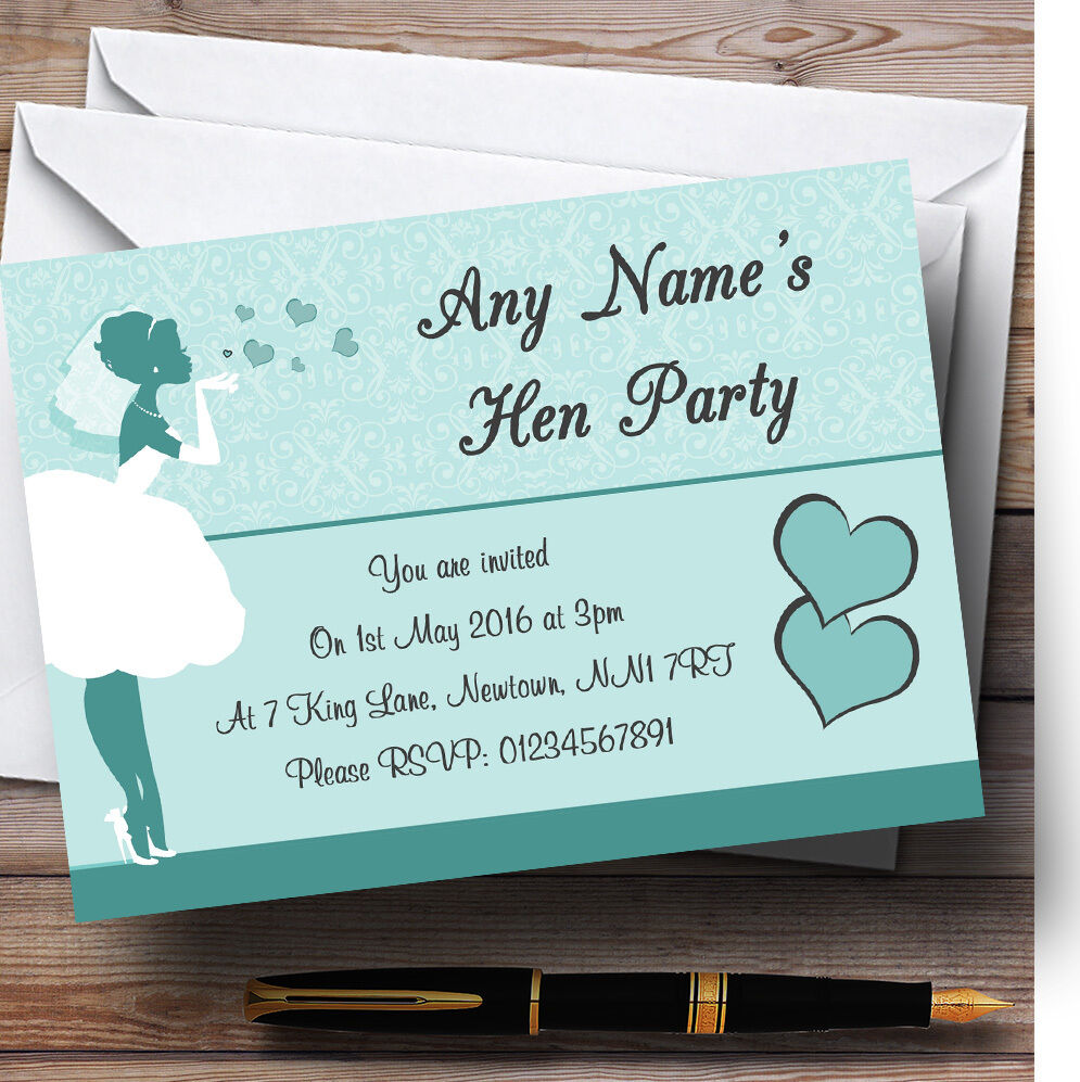 Turquoise Aqua Bride Hearts Personalised Hen Party Invitations