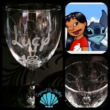 Personalised Disney Lilo & Stitch Wine Glass Handmade Custom FREE Name Engraving