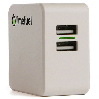 USB Wall Charger White Limefuel L48WC-W Dual Port 4.8A/24W High Output Adapter