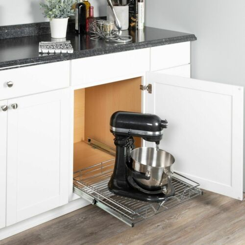 "Richards Homewares 220110 Chrome One Tier 20/""W X 21/""D Slide Out Kitchen Cabinet"