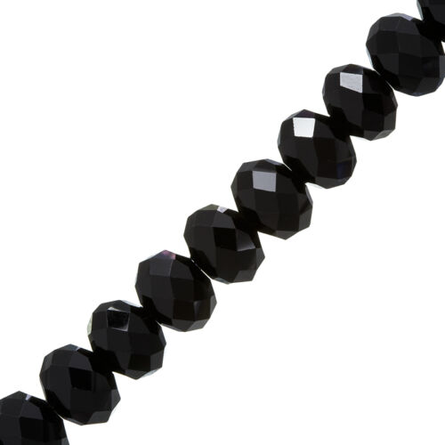 """Black 14x10mm Faceted Crystal Glass Rondelle Beads 8/"""" P43"""