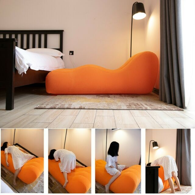 Sex Bed Inflatable Pillow Chair Sofa Adult Cuffs Cushion for Couples Game  Orange