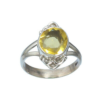 Anniversary Boys Citrine Gemstone Ring Size 5-14 Gift For Him Solid 925 Sterling Silver Citrine Silver Ring Classic Handmade Jewelry Two Tone Statement Ring Birthday Gift