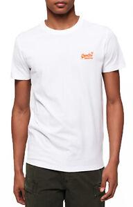 Superdry-New-Orange-Label-Crew-Neck-T-shirt-Plain-Cotton-Tee-Neon-Optic-White