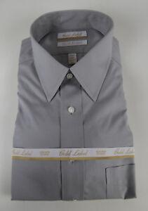 Roundtree-amp-Yorke-Gold-Label-Non-Iron-EZ-Wash-Pinpoint-Dress-Shirt-NWT-75-Gray