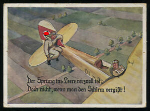 WW2-WWII-Germany-3rd-Reich-Picture-Postcard-Cover-German-Hitler-Luftwaffe-Humor