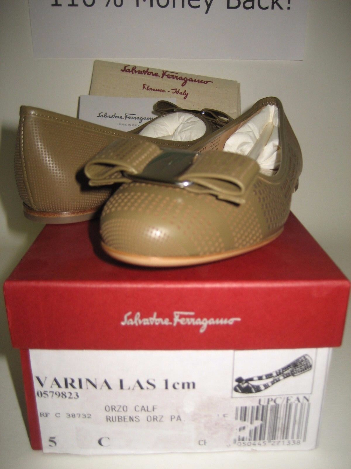525 NEW Salvatore Ferragamo Womens Varina Varina Varina US 5 Olive Leather Ballet Flats shoes 592bc2