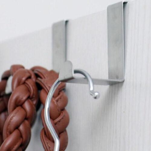 4 X Stainless Steel Metal Over Door Hooks for Clothes Coat Robe Hanger Hanging K
