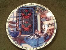 "Edwin M Knowles Lazy Morning 16528G Kittens Country Plate 1990 8-1/2"" Vintage"