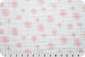 Shannon-Fabrics-Embrace-Double-Gauze-Coral-Dandelions-by-the-yard-or-custom