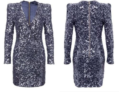 Cocktail Samantha Bnwt Iconic Xmas French Dress Silver 10 Blue Connection Sequin qTqPU8nwx