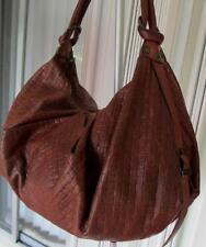 """ANDREA BRUECKNER BROWN WOVEN PRINT LEATHER """"SADDLE""""  HOBO  SHOULDER  BAG  $525"""