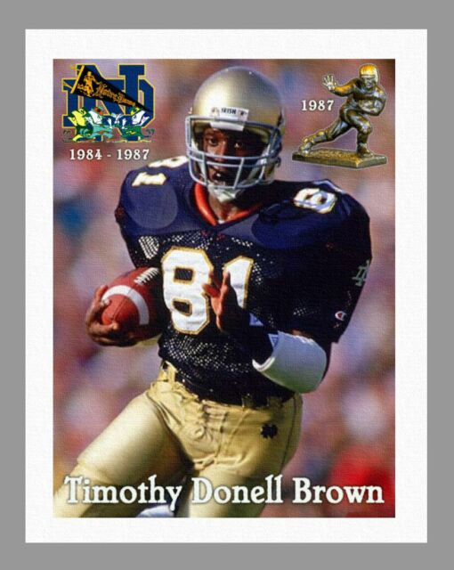 """TIM BROWN - HEISMAN SERIES NOTRE DAME COLOR PRINT ON 8.5"""" x 11"""" REAL CANVAS"""